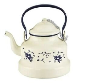 Beautiful Vintage Style Enamel Kettle With Blue Floral Prints