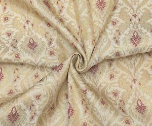 Beige & Gold Jacquard Brocade Silk Fabric Craft Sewing Wedding Dress By The Yard