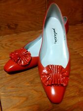 Vtg Palizzio Red White Polka Dot Leather Kitten Heels Women's 7.5N Made in Spain