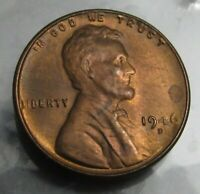 1946-D (Denver) LINCOLN WHEAT PENNY, RED UNC 1c Wheatie Cent Uncirculated