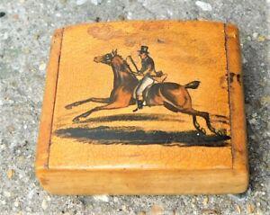 NO RESERVE Georgian Victorian Hand Painted Huntsman Snuff Box Vintage Antique
