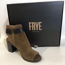 Frye Danica Harness Peep Toe Bootie Boot Suede Chestnut Brown Size 8 Buckle Zip