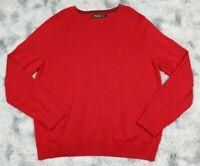 Nautica Men's Sweater Size Large L Red Crew Neck Cotton Lightweight Pullover EUC