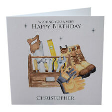 Personalised Birthday Card, Man, Tool Box, Work Boots, DIY Husband,Brother, Son