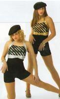 Here I Come Dance Costume GOLD with BLACK Biketard Jazz and Tap Child Medium