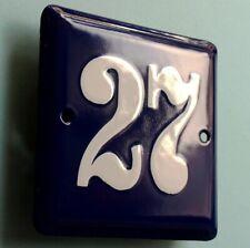 HAUSNUMMER 27 Altes Emailschild um 1955 MAKELLOS Eingang Haustür Türschild FETT