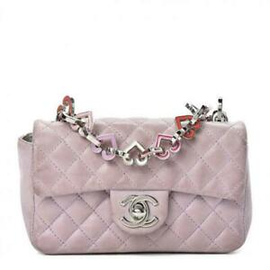 Chanel Quilted Mini Rectangular Flap Valentine Purple Lambskin Leather Shoulder