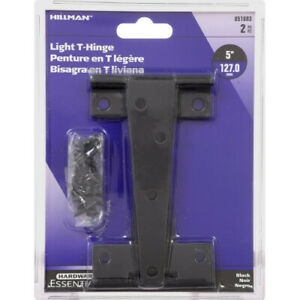"""The HILLMAN Group 5"""" Hardware Essentials #851683 Light T-Hinges Black, pack of 2"""