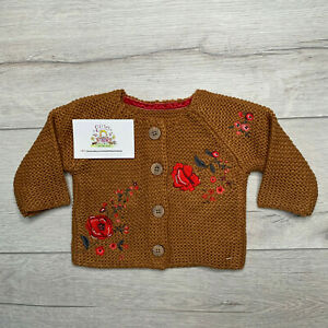 Nutmeg Baby Girls Cardigan Brown Knitted Chunky Jacket Floral Toddler Cute Gift