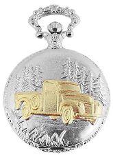 Taschenuhr weiß Silber Gold Auto Truck analog Quarz Herrenuhr D-480712000033350