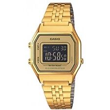 Casio La 680 WEGA 9 B Unisex Chronograph Watch Gold Plated With Black Dial