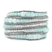 Chan Luu Graduated Amazonite Wrap Bracelet on Iceberg Leather