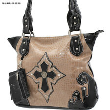 1188 BEIGE CROSS RHINESTONE WESTERN PURSE CONCEALED CARRY WEAPON COWGIRL BAG