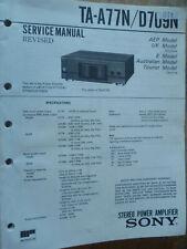 Amplificador De Potencia Estéreo Sony TA-A77N TA-D709N Manual De Servicio