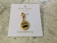 """NEW Kate Spade New York Mustache Glasses Charm Lobster Claw Clasp """"How Charming"""""""