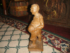 Superb Wood Carving Of Fat Man W/Belly Holding Knife-Sancho Panza?-Folk Art
