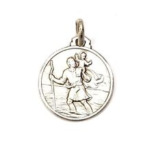 18MM Silver 925 St Christopher Patron Travelers Medal Necklace Pendant Charm