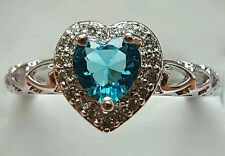SWISS BLUE TOPAZ STERLING HEART RING 2.35 T.C.W SIZE 8/9/10/11