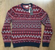 LEVIS CLASSIC CREW HOLIDAY JUMPER KNIT SWEATER NORDIC STYLE SIZE S SMALL BNWT