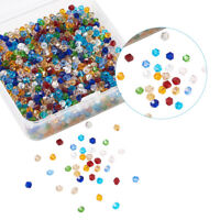 Imitation Crystal Glass Beads Bicone Faceted Craft Mix Lot in Box 4mm/6mm