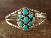Navajo Indian Sterling Silver Turquoise Cluster Bracelet by M. Chee