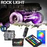 8-Neon LED Rock Lights Kit Wireless Multi Color Underglow Offroad Car Truck Boat