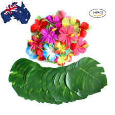 54PCS  Artificial Fake Green Palm Plants Tropical Leaves Hibiscus Flowers For AU
