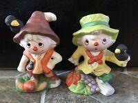 2 Scarecrow FIGURINES Ceramic ROC Taiwan VINTAGE Homco Home Interiors