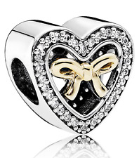 Authentic Pandora Two Tone Silver & 14k Gold Bound By Love Charm 791875CZ