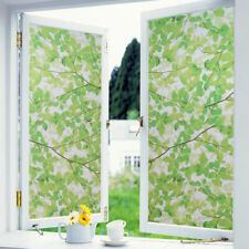 Self Adhesive Cover Window Film Frosted Waterproof Green leaves Home Decorative
