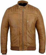 Men Genuine Leather Jacket Bikers Casual Wear Slim Fit TAN Colour Size XS-4XL