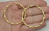 1.5'' 10k Solid Yellow Gold Diamond-Cut Twist Hoop Earrings. 40 x 3MM 3.GR