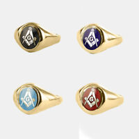 9ct Gold Square and compass Masonic ring With G (Red, Blue,Black,Light blue)