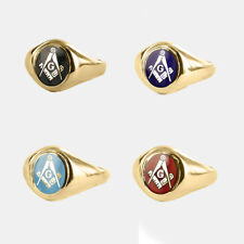 9ct Masonic ring Gold Square and compass With G (Red, Blue,Black,Light blue)
