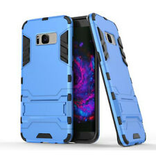 Azul resistente armadura estuche posterior duro híbrido cubierta soporte para varios teléfonos