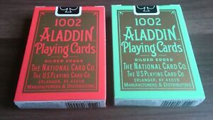 Aladdin 1002 Gold Gilded Edges Red & Blue Playing Cards Decks!