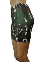 Mini Skirt CAMO Green White Black Stretch Lycra Club PARTY Bodycon Womens S63