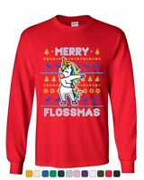 94968acfb4796 Merry Flossmas Flossing Unicorn Long Sleeve T-Shirt Christmas Ugly Sweater  Tee