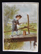 Adorable Victorian Scrap Card - Boy Fishing Off A Dock By The River