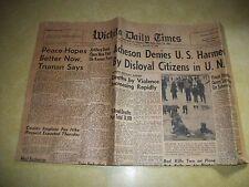 1907 WICHITA DAILY TIMES NEWSPAPER DECEMBER 31 1952 NEW YEARS EVE OLD EPHEMERA