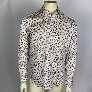 Etro Mens Shirt Turtle Parrot Pineapple Paisley Print Long Sleeve Size 39