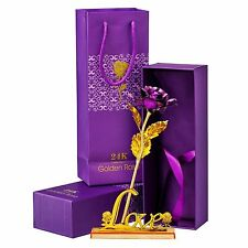 Gold Foil Plated Rose Flower 24K Decor & Love Stand Mother's Day Mom Gift Purple
