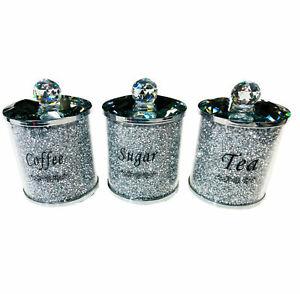 DIAMOND CRUSHED SILVER CRYSTAL FILLED TEA COFFEE SUGAR CANISTERS JARS STORAGE UK