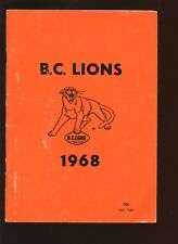 1968 Canadian Football League CFL British Columbia Lions Yearbook VGEX