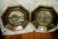 SUNGOTT 1800s FRENCH SCENES TINTED ETCHINGS FRENCH FARMHOUSE MIRROR FRAMES