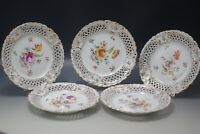 ANTIQUE SAXONIA DRESDEN GERMANY SET OF 5 RETICULATED PORCELAIN PLATES