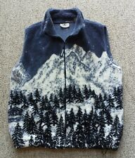 Black Mountain Outdoor Nature Ski Print Fleece Vest Plush Cinch Waist Winter  XL