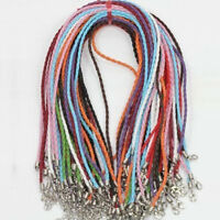 Lots 10/20Pcs Leather Braid Rope Cord Lobster Clasp Chain DIY Necklace Bracelet
