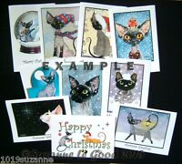Devon Rex cat art Christmas cards 10 assorted from painting by Suzanne Le Good