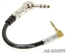 "4-inch Right-Angle Premium 3.5mm Stereo Male to 1/4"" Stereo TRS Male Cable"